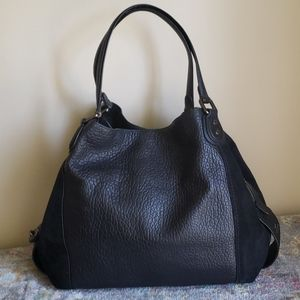 Coach Edie 42 Buffalo leather black shoulder purse
